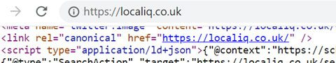 Screenshot of html snippet showing canonical URL tag