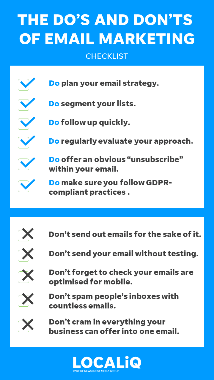 dos and dont checklist of email marketing