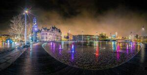 360 view of Bradford city centre at night