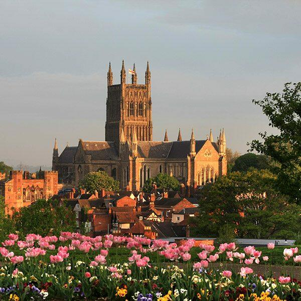 Early morning sun catches Worcester cathedral
