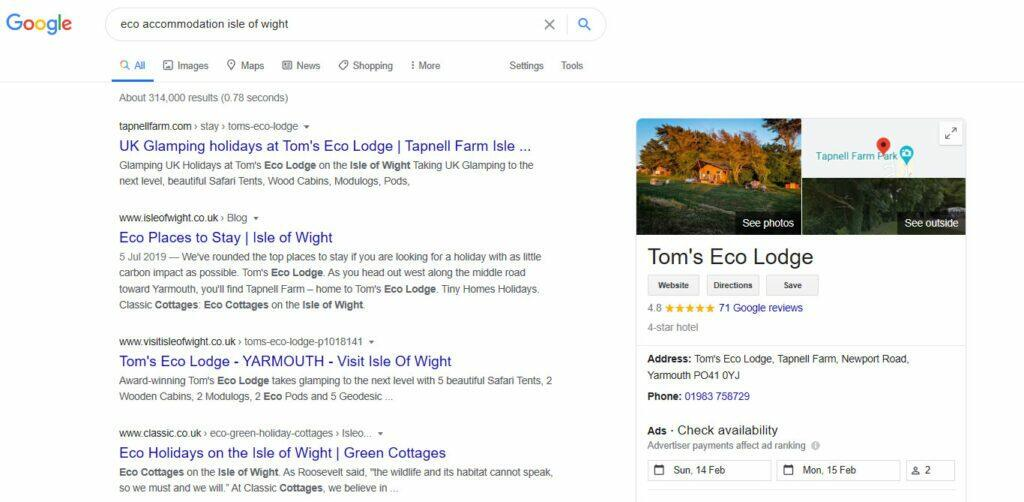 Screenshot of a Google Search Results Page with knowledge panel
